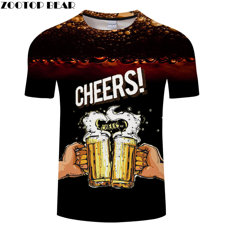 CHEERS Beer Cup Men t shirt 3D Print t-shirt Hip Hop Brand Breathable 2019 Fashion Quick Dry Shirts Casual Drop Ship ZOOTOPBEAR