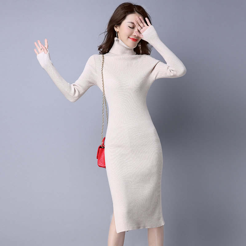 Autumn Winter Knit Turtleneck Sweater Dress Women Vestidos Mujer Elegant Pullover Sweater Jumper Pull Femme Bodycon Dress C3684