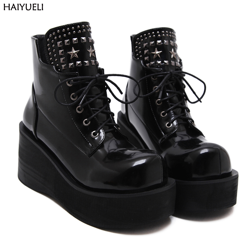 Botas Invierno Mujer Fashion Platform Shoes Women Punk Black Gothic Ankle Boots Womens Platform Wedge Lace up Motorcycle Boots cuddlyiipanda 2017 punk boots women black ankle boots motorcycle thin high heel double buckle punk platforms botas mujer
