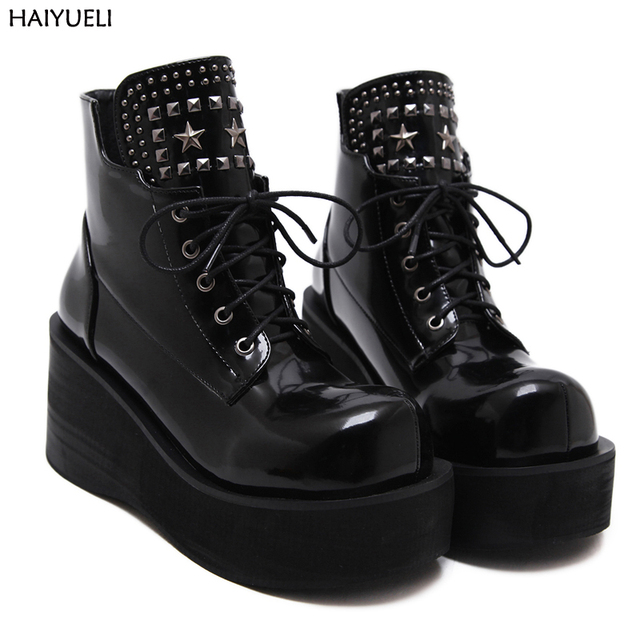 c0fefa129d Botas Invierno Mujer Fashion Platform Shoes Women Punk Black Gothic Ankle  Boots Womens Platform Wedge Lace
