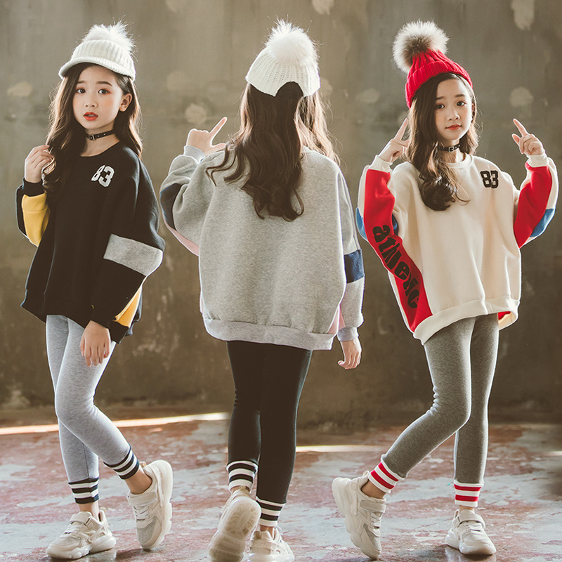 New Teens Girls Hoodies Sweatshirts Letter Print Casual Long Sleeve Cotton Cute Hoodie Girl Cotton Pullover Kids Harajuku CA449