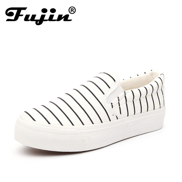 Fujin slipony 2017 Slip On Platform flats women Stripe Breathable Women's Shoes krosovki platform female ladies slipony creeper