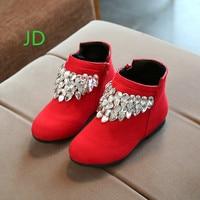 2017 Winter Children S Shoes Girl Rhinestone Single Children Princess Short Boots Red Baby Martin Botas