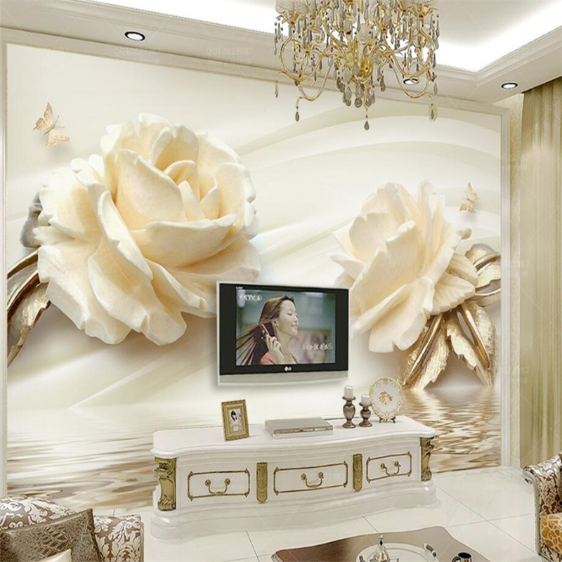 beibehang Wallpaper Custom Living Room Bedroom 3d Champagne Rose Water Reflection Mural Wall Home Decoration papel de parede