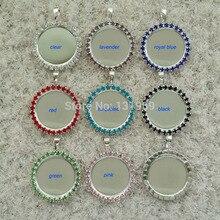 """Botón de cristal de diamantes de imitación aplanado DIY, bandeja redonda en blanco, collar, colgante, abalorio para cabujones adhesivos, 50 Uds. Interior de 1 """"(25mm)"""