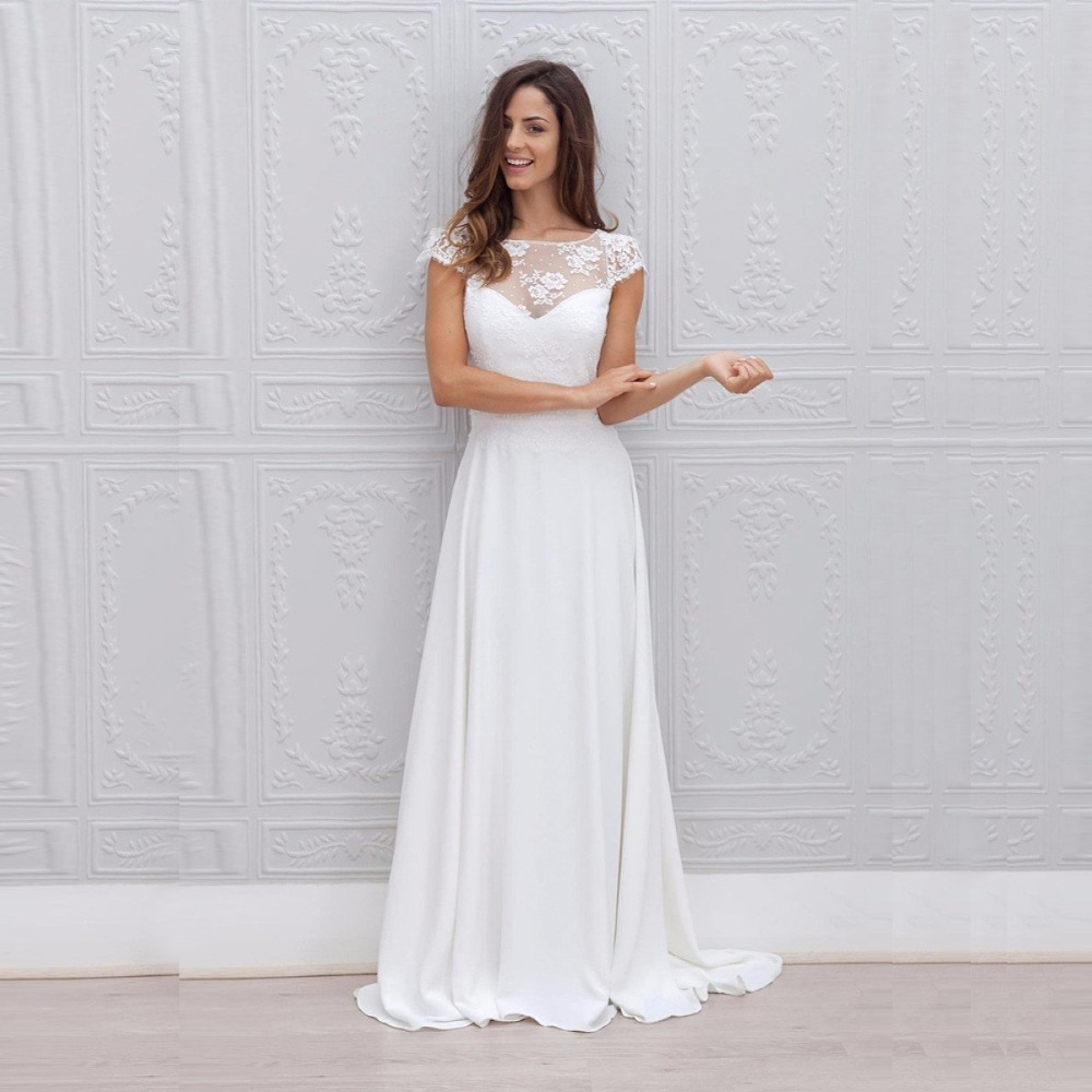 2019 Beach Wedding Dress Lace Appliqued Bridal Gowns Scoop Cap Sleeves Plus size Chiffon Bride Dress