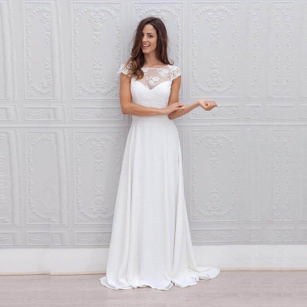2019 Beach Wedding Dress Lace Appliqued Bridal Gowns Scoop Cap Sleeves Plus Size Chiffon Bride Dress Vestido De Noiva