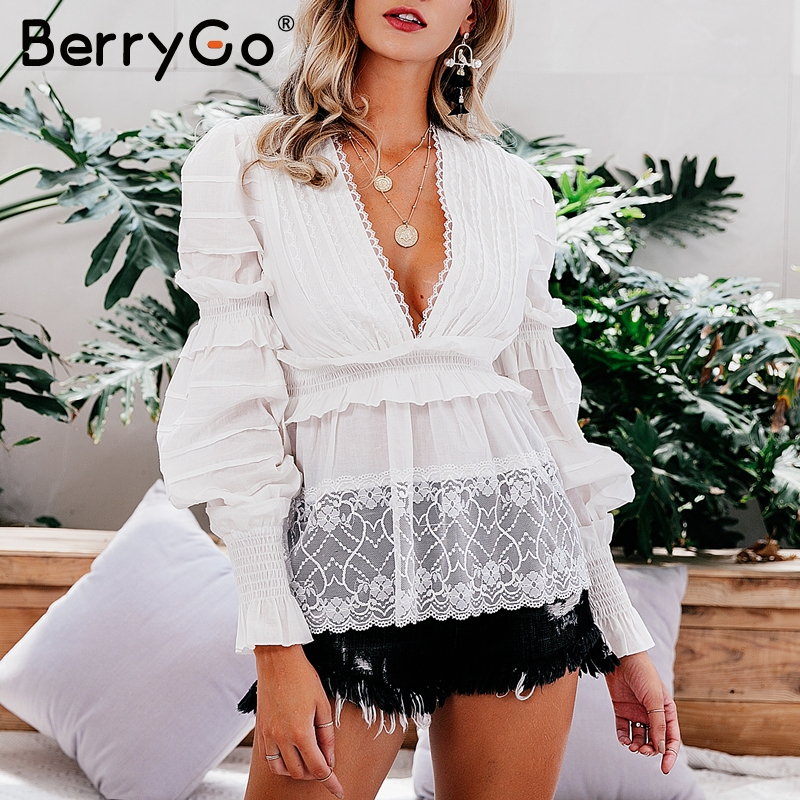 BerryGo Vintage lace   blouse   women   blouses     shirt   tops V neck ruched puff sleeve   blouse     shirts   Streetwear fashion cotton Shir tops