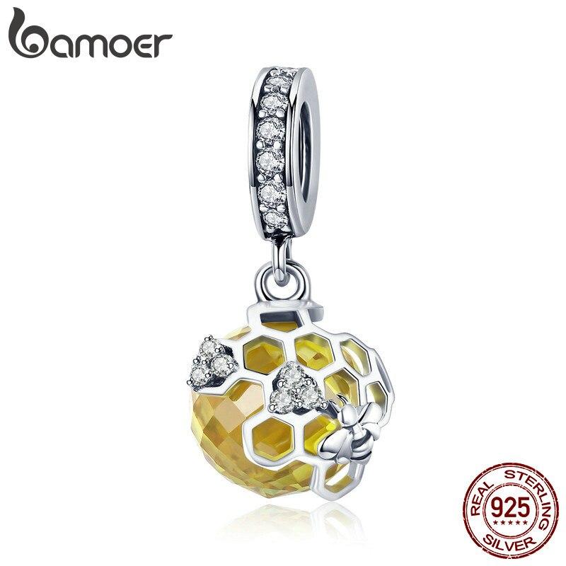 BAMOER Trendy 925 Sterling Silber Honeycomb Bee Anhänger Gelb CZ Cubic Zirkon Charme fit Charm Armband DIY Schmuck SCC879