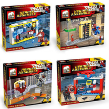 JX 4pcs New Iron Man Spiderman Marvel DC Super Heroes The Avengers Minifigures Building Blocks Figure Model Bricks Toys Decool