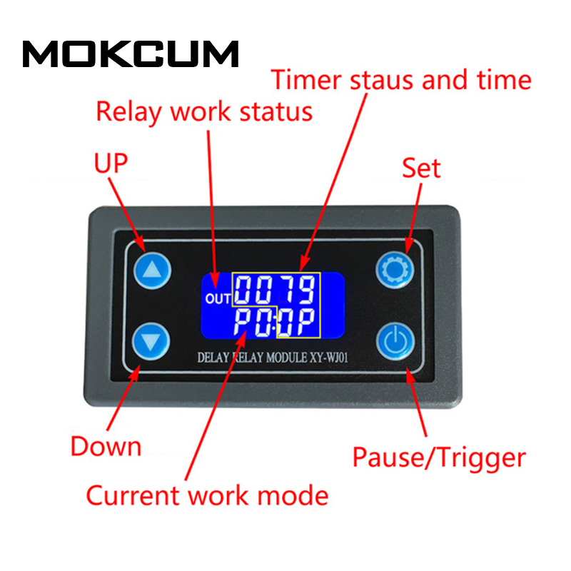 DC 6-30V Time Relay Module Digital LED Double Relay Display Timer Switch Trigger Cycle Smart Control Module