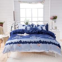 Blue Forest boys 4pcs bedding set mens blue duvet cover bed sheet pillow cases single size cartoon bedlinen