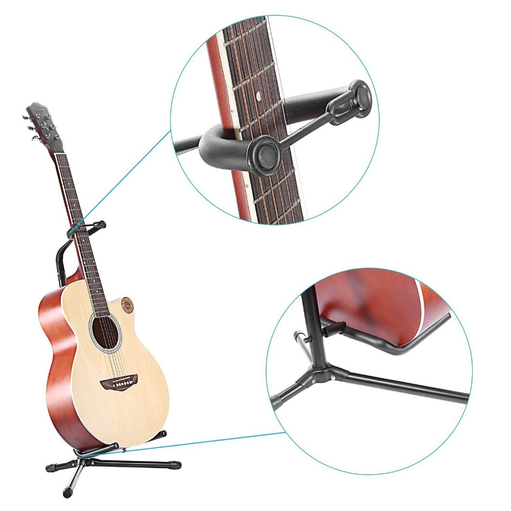Guitar Bass Stand Holder Foldable Folding Acoustic Electric Guitar Bass Stand Holder Floor Universal