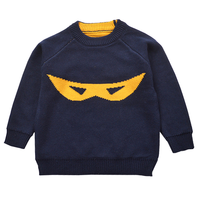 QUIKGROW 3~4 Years Excellent Cotton Knitted Kids Pullover Sweater Lovely Mask Pattern Toddler Boy Girl Knitwear MA10MY