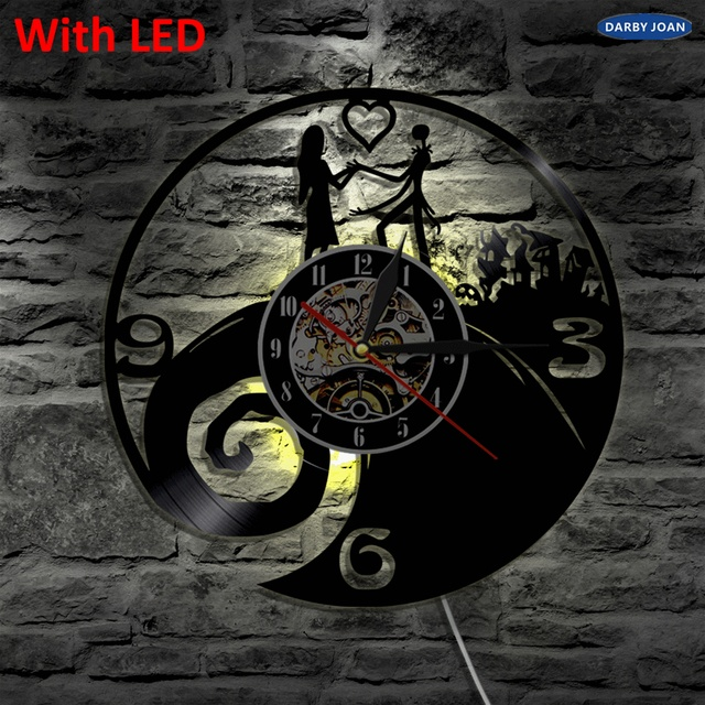 nightmare before christmas silhouette vinyl clock led backlight modern cool interior decorative lamp vintage illuminated - Nightmare Before Christmas Clock