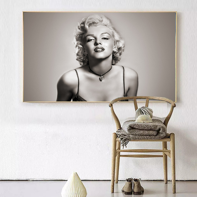 Black And White Marilyn Monroe Movie Star Vintage Art Print On ...