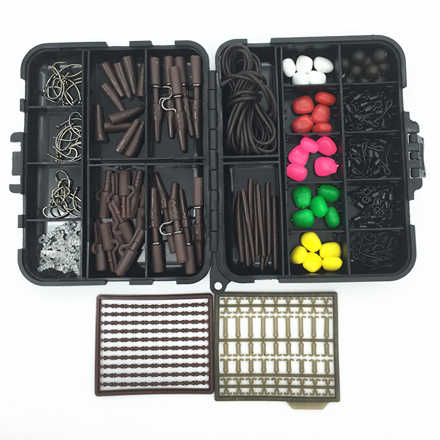 Carp Fishing Accessories Tackle Boxes with Hooks Rubber Tubes Lead Clip Swivels Beads Sleeves Corn Lures Baits Silicone Tube Peg