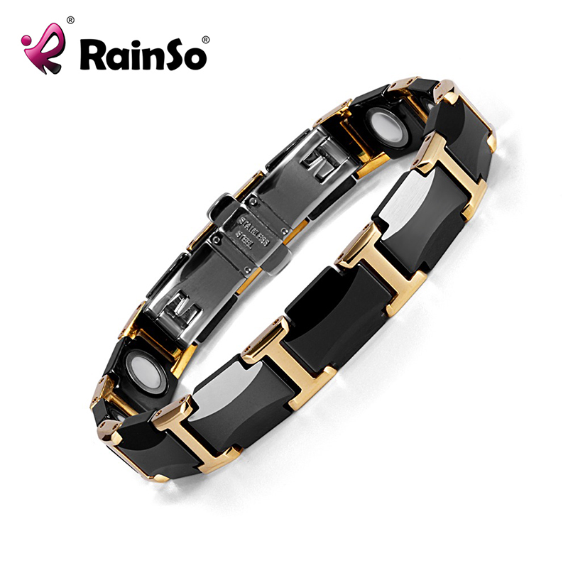 Rainso Black Ceramic Tungsten Steel Charm Magnetic Health Care Link Bracelets for Women with Gold color