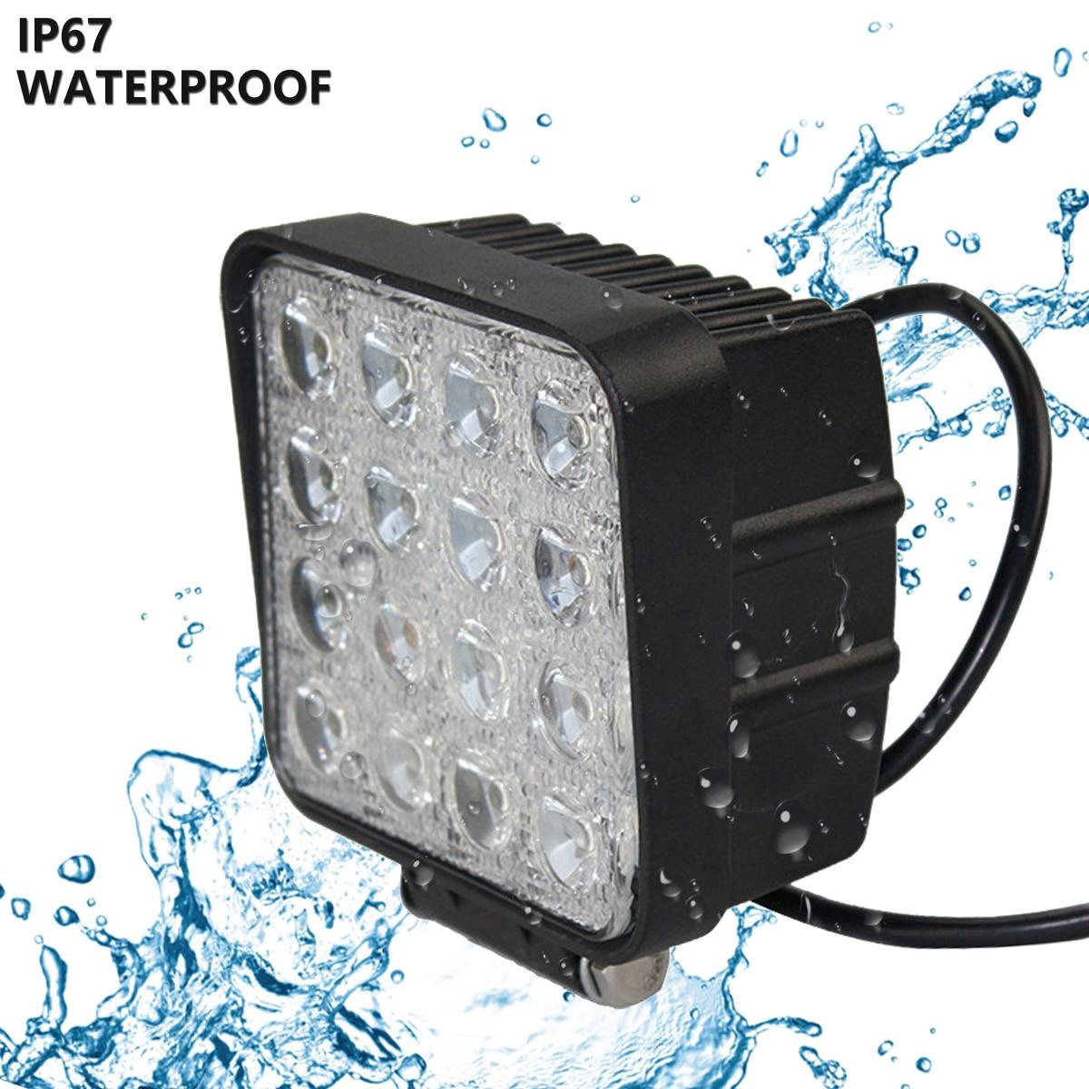 bc068dfc0d04 US $49.55 |48W Vehicel Headlights 16LEDs 6000K Cool White Light Bar 4*4  Vehicle Work Light LED Truck Pod Light for SUV,UTV,ATV z80-in Light  Bar/Work ...