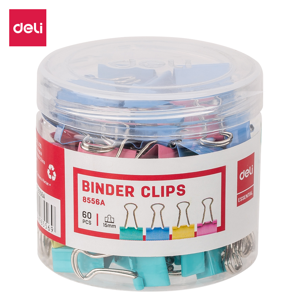 Deli E8556A 60PCS/TUBE Office Consumable Color Binder Clips 15mm