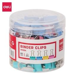 Deli e8556a cor fichário clipe 15mm 60 pces/tubo multicolorido clipes de papel arquivo documento pasta escola material de escritório
