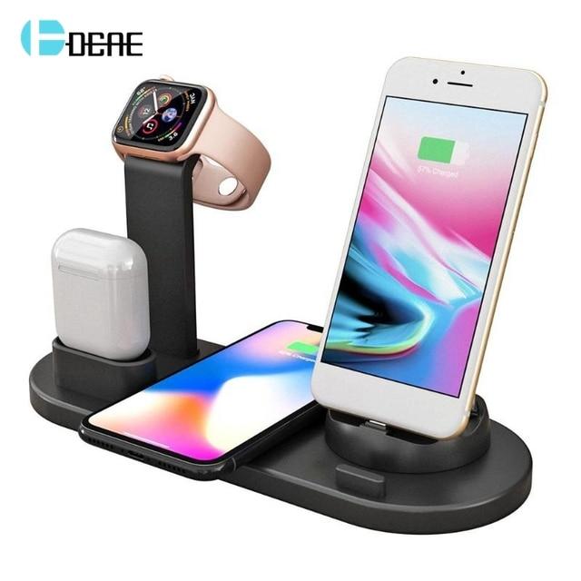 Беспроводное зарядное устройство 4 в 1, подставка для iPhone 11, 8, XS, XR, Apple Watch, Airpods Pro, 10 Вт, Qi, быстрая зарядка, док станция для Samsung S10, S9