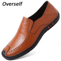 Men Casual Shoes For men Cow Leather Slip on Flats Men's Shoes Breathable Footwear Man Shoes Handmade Black Brown Sneakers