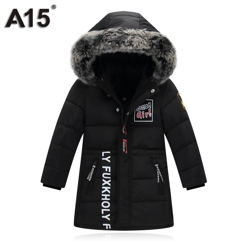 A15 Brand Boys Parkas with Fur Hoods Children Winter Jackets Warm Boys Clothes Kids Thick Cotton Down Jacket Outwear 10 12 14 Ye xyf 2018 fashion brand children clothing winter boys fur down jacket with hood child warm long style outwear free shipping