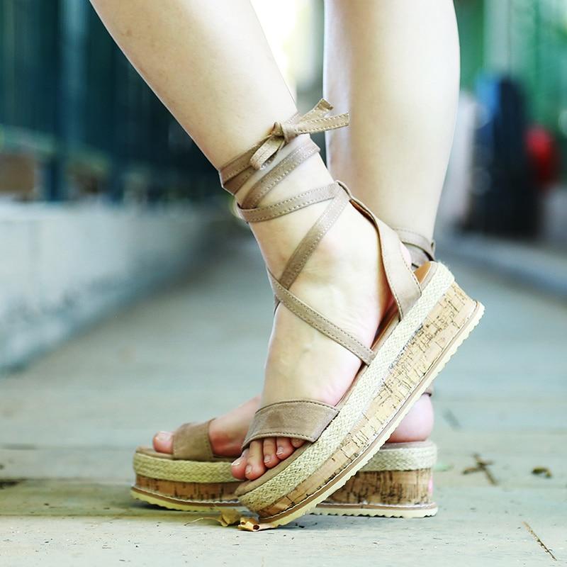 HTB12M8pXLjsK1Rjy1Xaq6zispXaR Summer White Wedge Espadrilles Women Sandals Open Toe Gladiator Sandals Women Casual Lace Up Women Platform Sandals