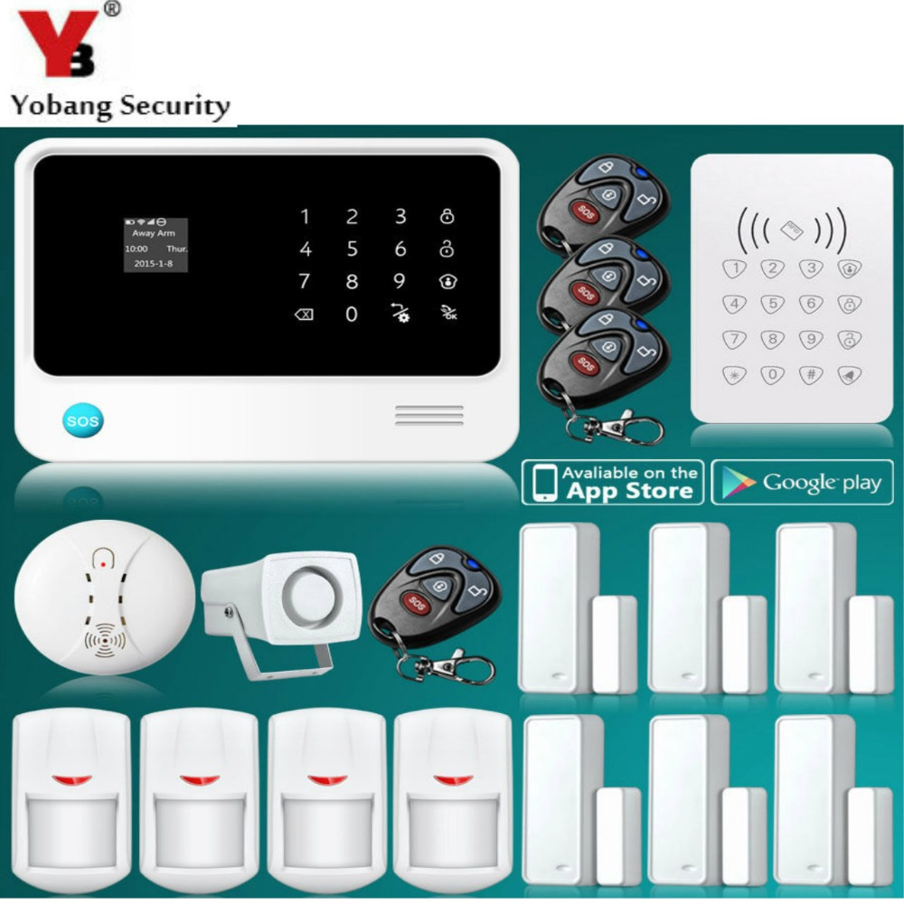 YobangSecurity G90B 2.4G Moible Call Touch Screen GSM Wireless WIFI Home Alarm System APP Control Smoke Detector RFID Keypad 433mhz g90b intruder home alarm wireless security gprs gsm wifi alarm system with pir motion sensor wireless smoke detector