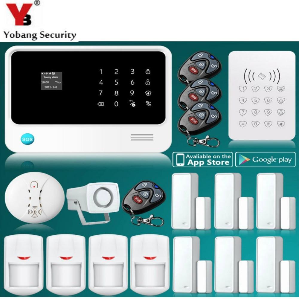 YobangSecurity G90B 2.4G Moible Call Touch Screen GSM Wireless WIFI Home Alarm System APP Control Smoke Detector RFID Keypad yobangsecurity touch screen wireless gsm wifi home alarm system g90b with app camera smoke fire detector pir door alarm sensor
