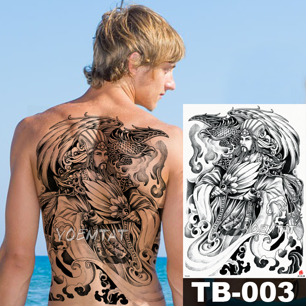 48*35 Cm Samurai Wisdom Warrior Large Tattoo Stickers Waterproof Temporary Flash Tattoo Full Back Phoenix Body Art For Men Wome