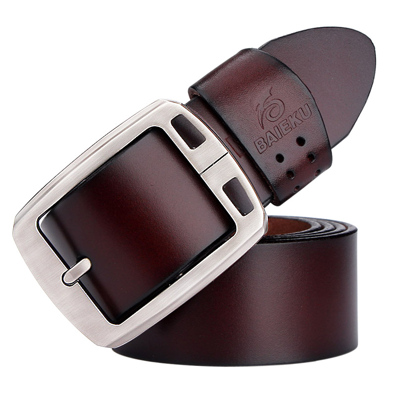 Image 5 - genuine cowhide leather belts for men brand Strap male pin buckle fancy vintage jeans cintos  BAIEKU 2018 NEW-in Men's Belts from Apparel Accessories on AliExpress