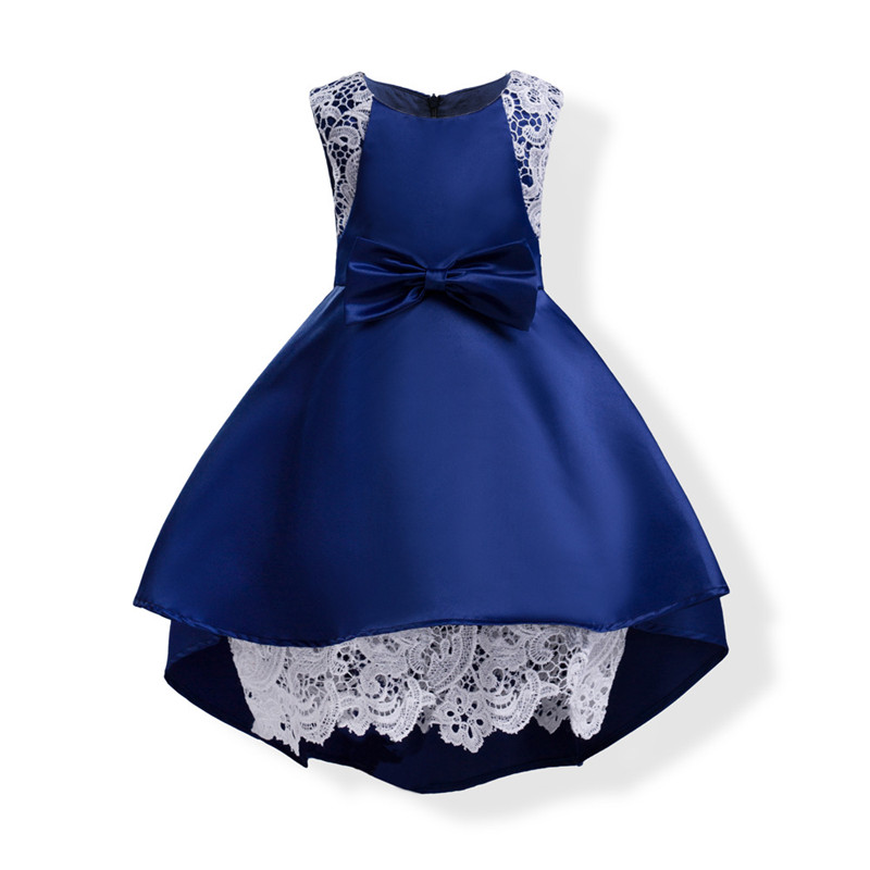 Girls Sleeveless Princess Children Flower Bow Trailing Dress For Wedding 3-10 Years Girls Trailing Party Prom Dresses Clothes new autumn girls flower dress long sleeve with bow belt princess children bridemaid dress wedding 4 10 years party prom cloth
