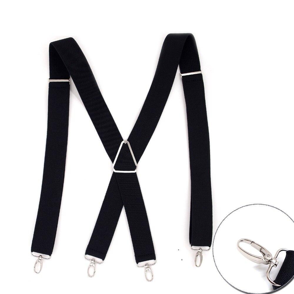 Male Black Soft Nylon Suspenders Men 4 Clips Buckle Suspenders Adjustable Triangle Braces Belt Trousers Dress Strap