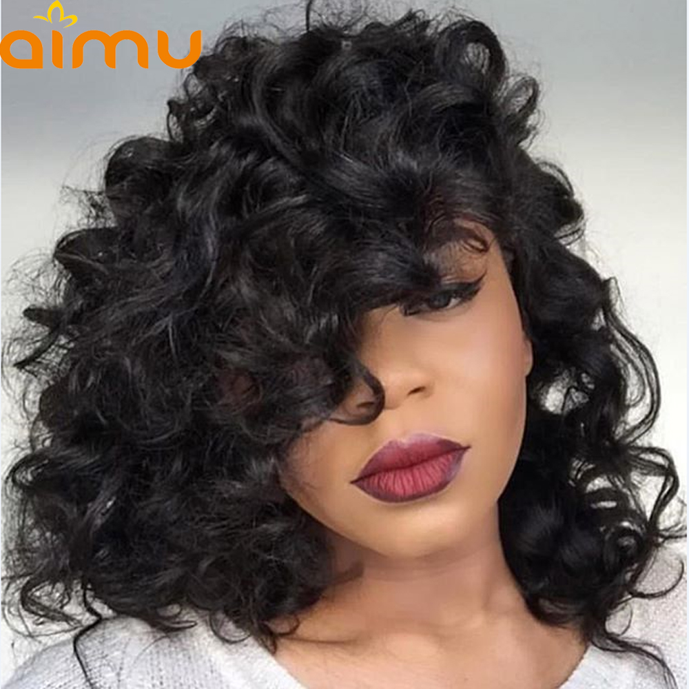 Pre Plucked Short 13X6 Lace Front Wig With Baby Hair Loose Deep 250 Density Peruvian Virgin