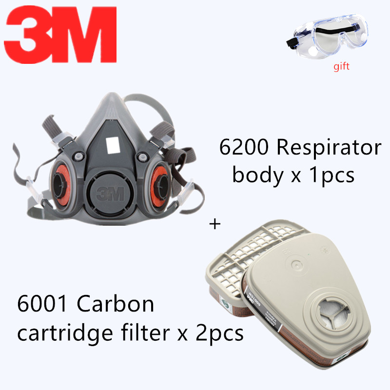 4 In 1 <font><b>3M</b></font> 6200 <font><b>6001</b></font> Organic Vapor Gas Mask Painting Spray Protective Dual Carbon Air Filter Canisters Respirator Industrial Use image