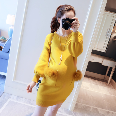 Autumn Winter Thicken Warm Maternity Sweaters Dresses for Pregnant Women Fashion Korean Loose Pregnancy Dress Party Clothing
