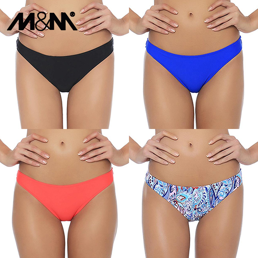 M&M 2019 Girls Sexy Low Waist Candy Colors Bikini Bottom Women Print Cheeky Small Swim Briefs Sporty Shorts B602