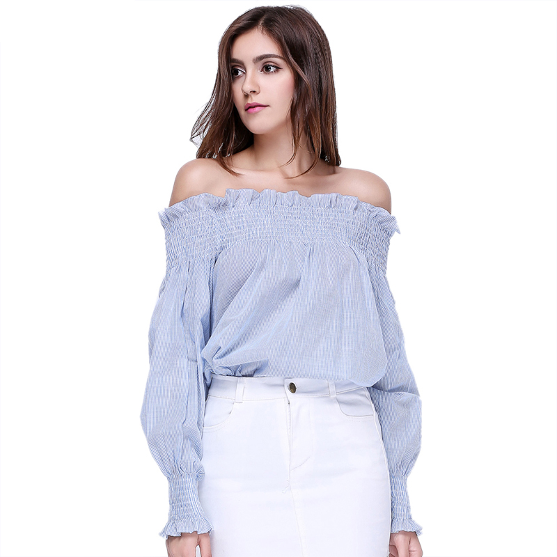 Cotton Blue White Striped Long Sleeve Loose Ruffle Blouse