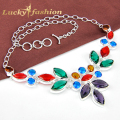 Fashion Necklaces For Women 2016 Individual Colorful Crystal Exaggerate Silver Plated Necklaces Jewelry