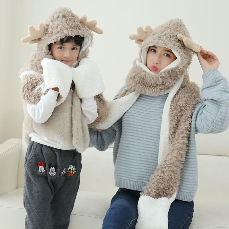 2018 Cartoon Deer Design Hats Scarf For Children And Mother Set Winter Hat Girl Rubbit. Knitted Cap Kids Girls