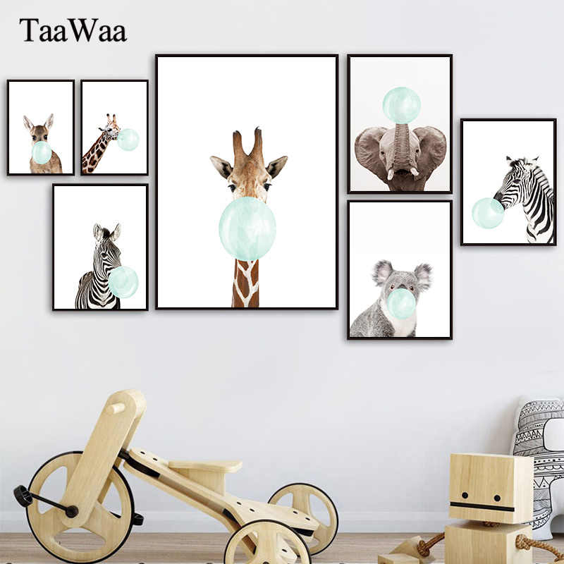 Baby Animal Wall Art Zebra Elephant Giraffe Canvas Poster Prints Nursery Painting Nordic Pictures Kids Bedroom Home Decoration