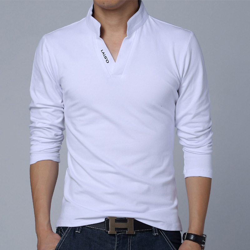 2019 New fashion   polo   Men Solid Cotton   POLO   Long Sleeve Muscle Slim Fit V Neck Letter LAISO Print Srping Autumn Top Tees T85