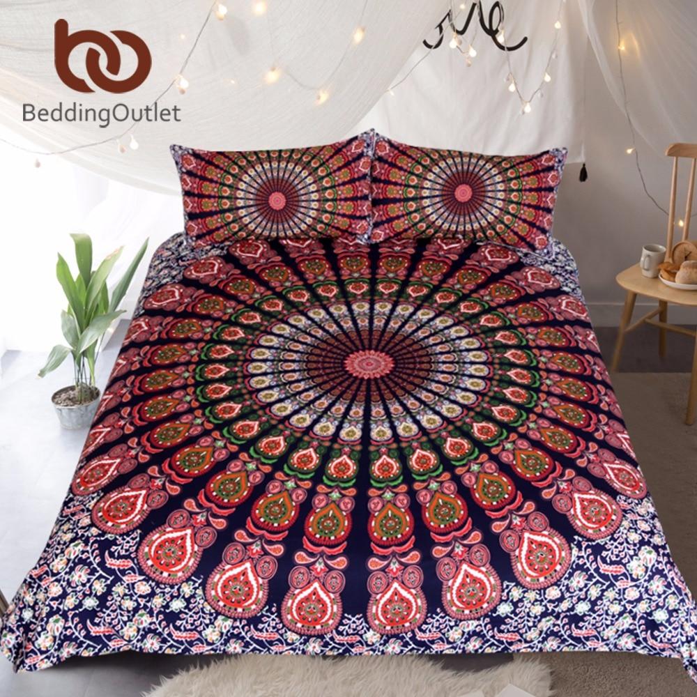 BeddingOutlet 3 Pcs Orange Blue Mandala Floral Duvet Cover