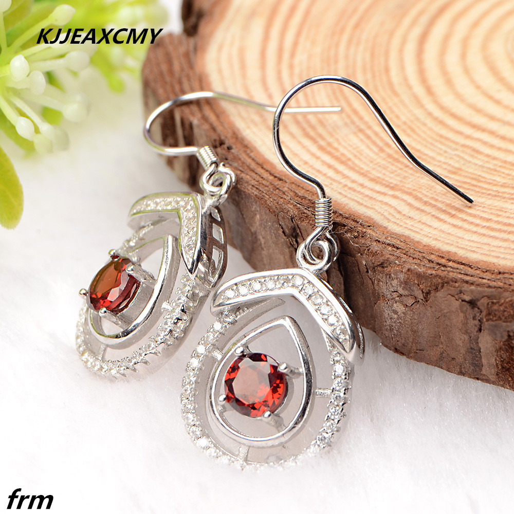KJJEAXCMY Fine Jewelery Korean New Wheat sale 925 Sterling Silver Earrings natural cherry red chalcedony female models