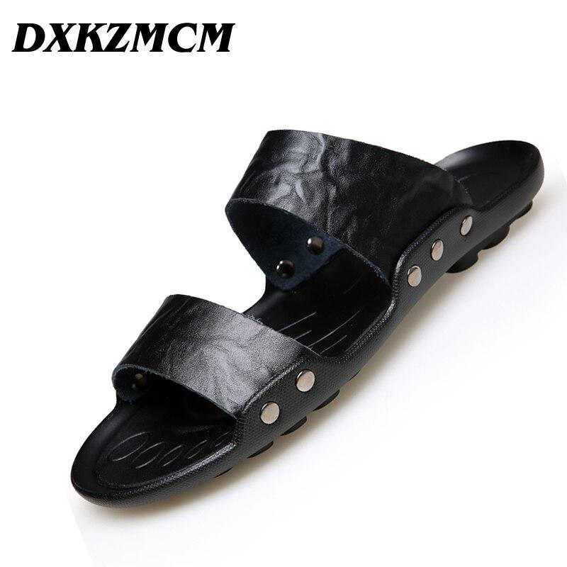 DXKZMCM Summer Men Sandals Genuine Leather Men Beach Sandals Flip Flops Men Slippers Shoes tide flip flops manufacturers sands sandals slippers men beach shoes