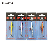 Yernea 4pcs/lot 7cm Winter Fishing Lure Ice Jig Bait Carp Red hooks Lead Hard Baits Lures Tackle