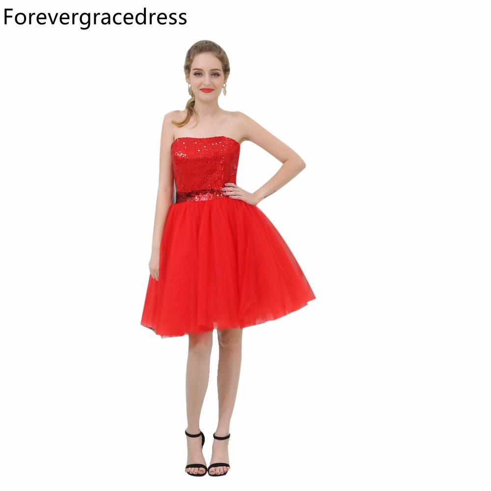 Forevergracedress Real Picture Red Sequins Cocktail Dress New Fashion Tulle Short Homecoming Party Gown Plus Size Custom Made