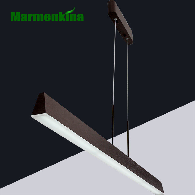 Simple study dining room office chandelier post modern LED rectangular ruler chandelier brown indoor light AC85-265V